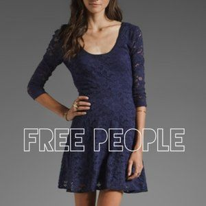 Free People Lace 3/4 Sleeve Sheer Back Mini Dress